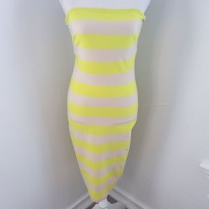 Yellow and Tan Striped Bebe Strapless Dress M